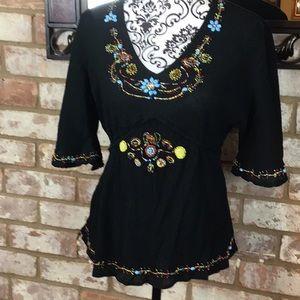 Bell sleeved Black Beaded Top